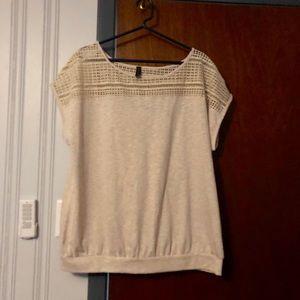 Oatmeal crochet accent shirt